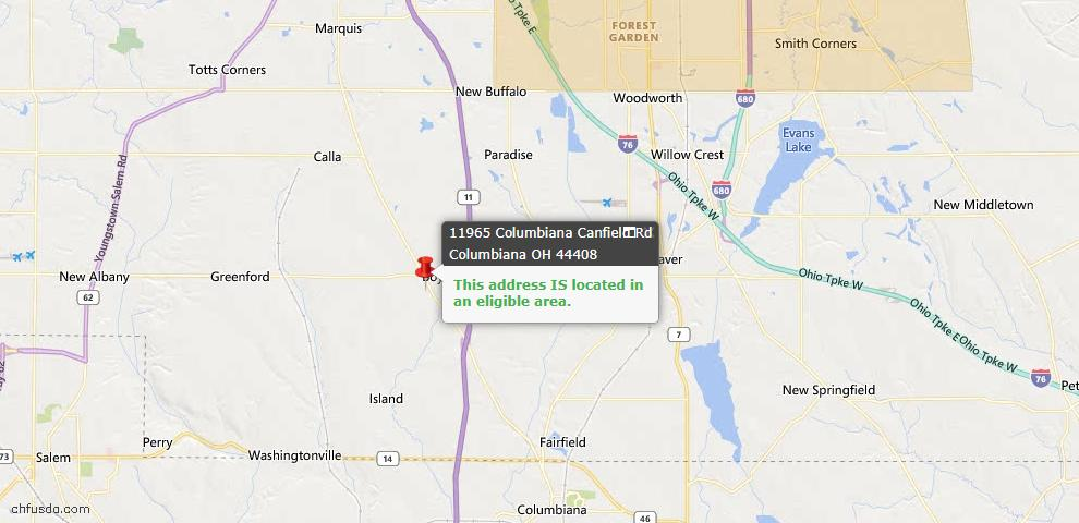 USDA Loan Eligiblity Map - 11965 Columbiana Canfield Rd, Columbiana, OH 44408