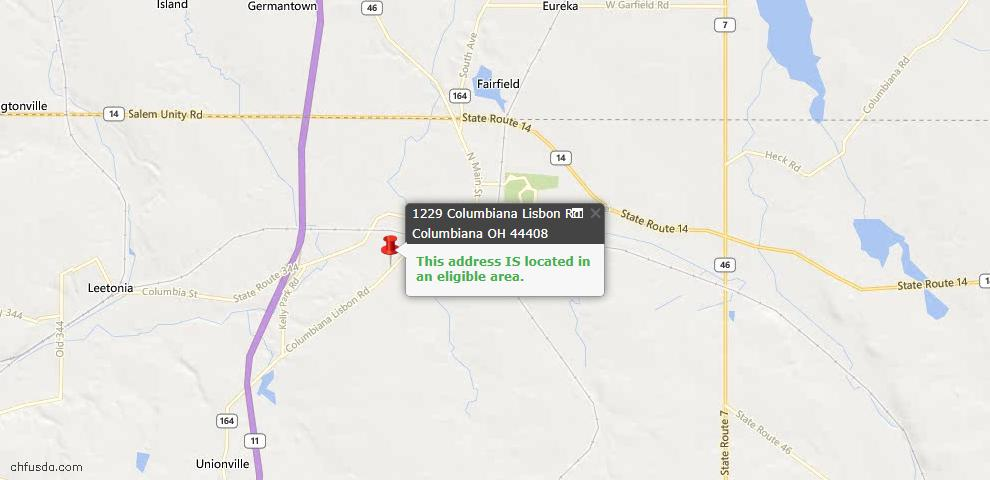 USDA Loan Eligiblity Map - 1229 Columbiana Lisbon #35, Columbiana, OH 44408
