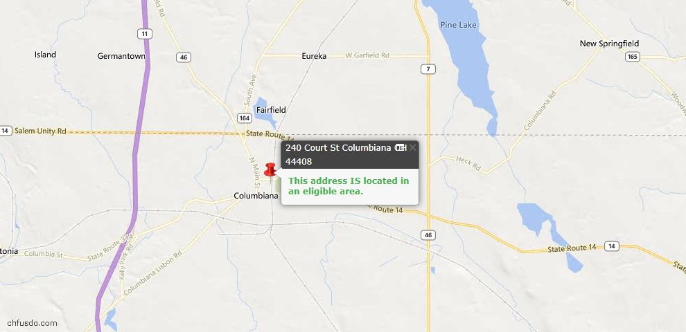 USDA Loan Eligiblity Maps From - Columbiana, OH