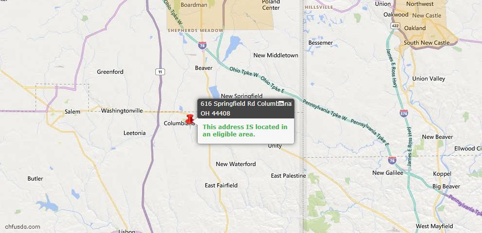 USDA Loan Eligiblity Map - 616 Springfield Rd, Columbiana, OH 44408