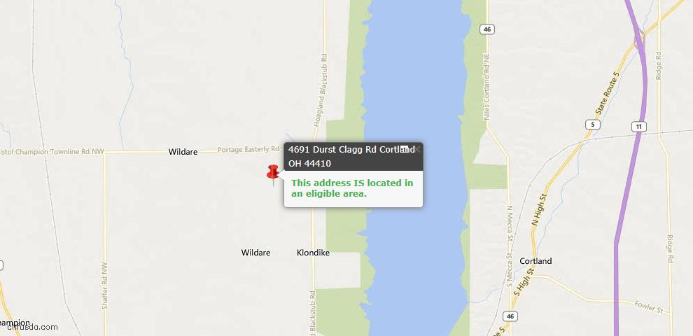USDA Loan Eligiblity Maps From - Cortland, OH