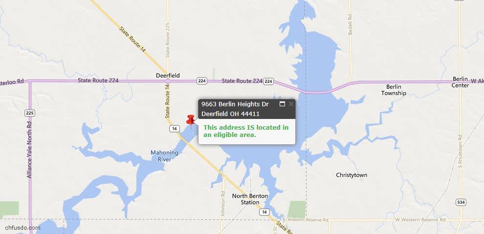 USDA Loan Eligiblity Maps From - Deerfield, OH