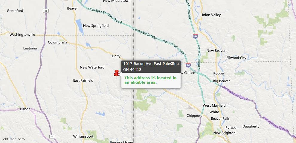 USDA Loan Eligiblity Map - 1017 Bacon Ave, East Palestine, OH 44413
