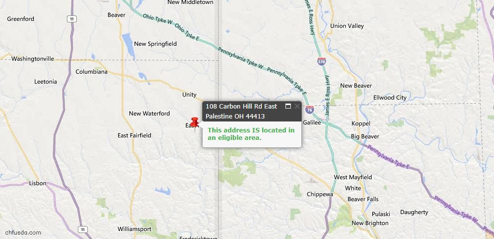 USDA Loan Eligiblity Map - 108 Carbon Hill Rd, East Palestine, OH 44413