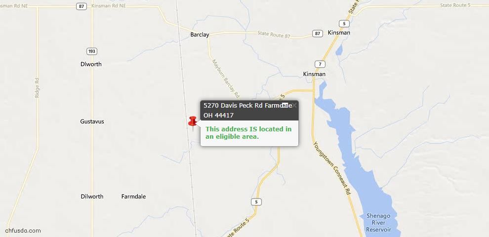USDA Loan Eligiblity Maps From - Farmdale, OH