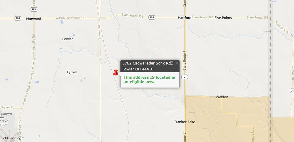 USDA Loan Eligiblity Maps From - Fowler, OH