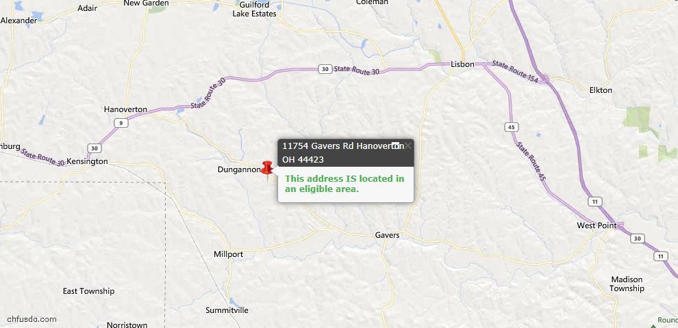 USDA Loan Eligiblity Map - 11754 Gavers Rd, Hanoverton, OH 44423