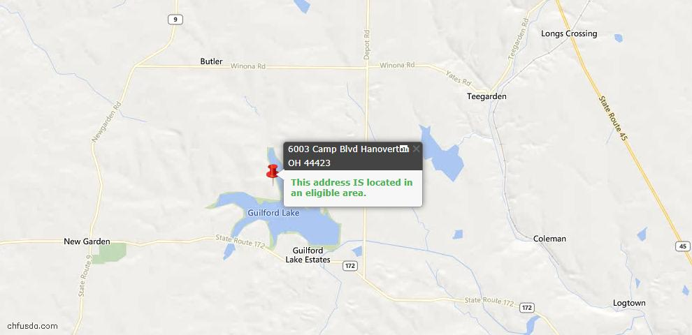 USDA Loan Eligiblity Maps From - Hanoverton, OH
