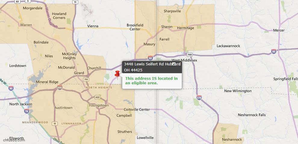 USDA Loan Eligiblity Map - 3448 Lewis Seifert Rd, Hubbard, OH 44425