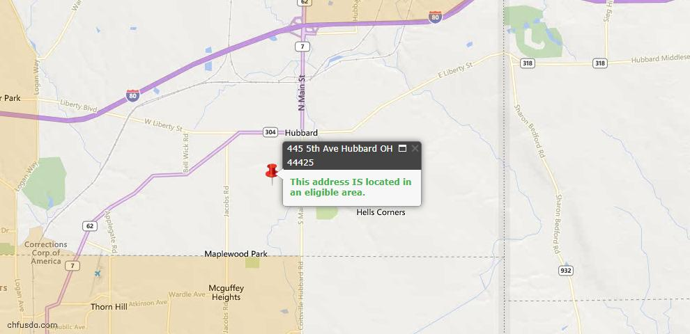 USDA Loan Eligiblity Maps From - Hubbard, OH