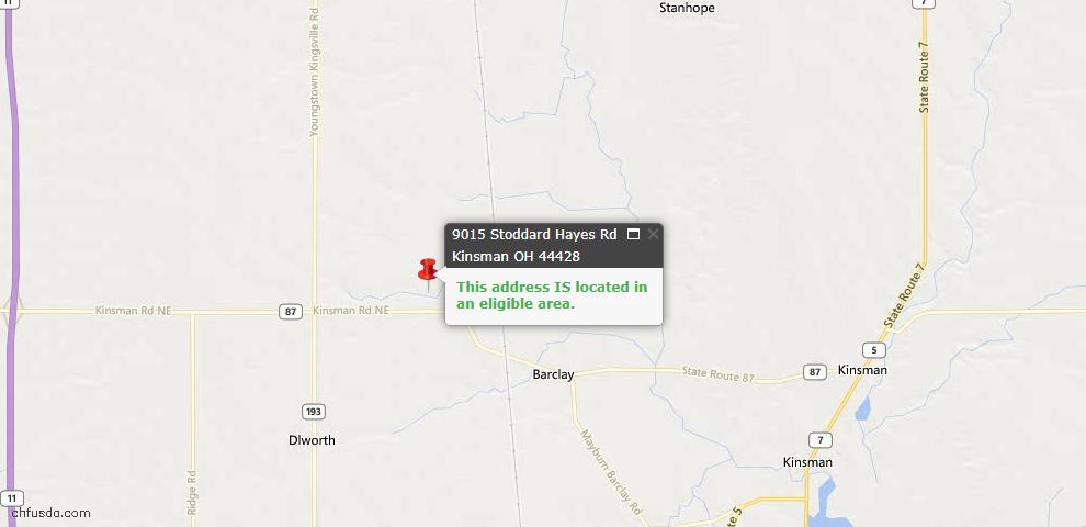 USDA Loan Eligiblity Maps From - Kinsman, OH