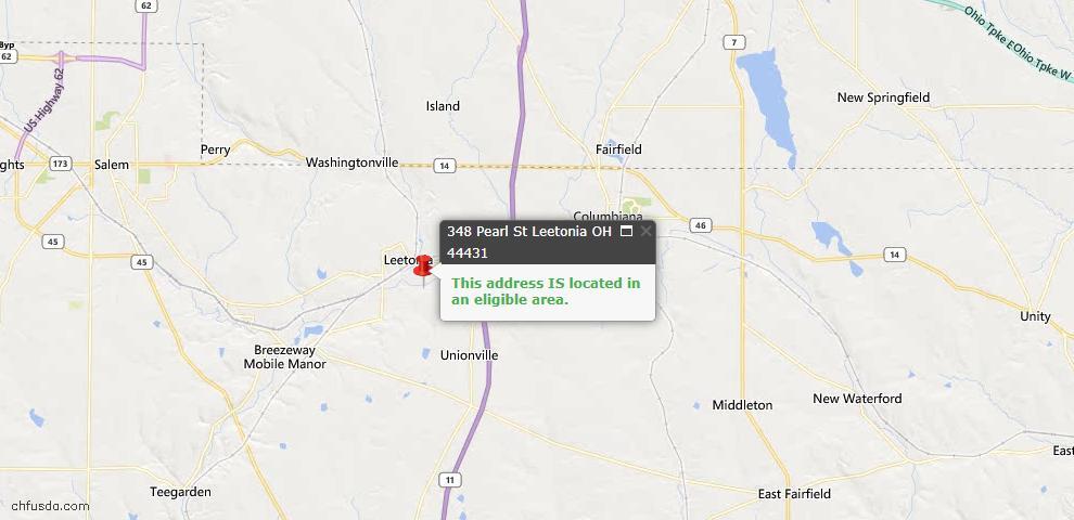 USDA Loan Eligiblity Map - 348 Pearl St, Leetonia, OH 44431