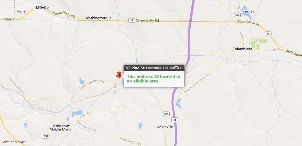 USDA Loan Eligiblity Maps From - Leetonia, OH