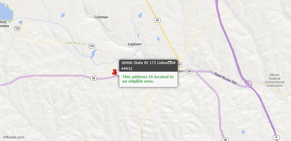 USDA Loan Eligiblity Maps From - Lisbon, OH