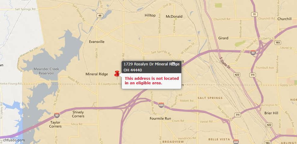 USDA Loan Eligiblity Maps From - Mineral Ridge, OH