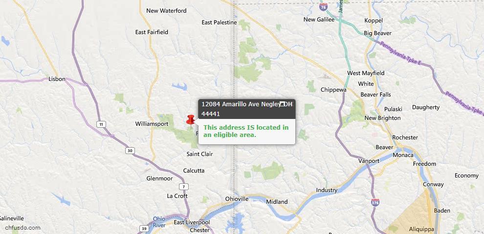 USDA Loan Eligiblity Map - 12084 Amarillo Ave, Negley, OH 44441