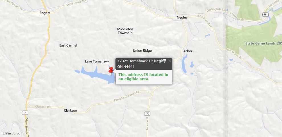 USDA Loan Eligiblity Maps From - Negley, OH