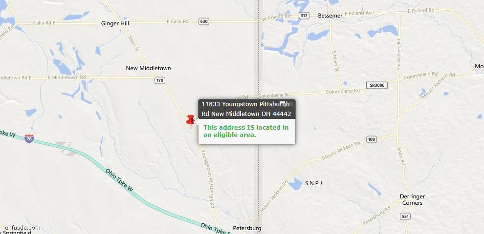 USDA Loan Eligiblity Maps From - New Middletown, OH