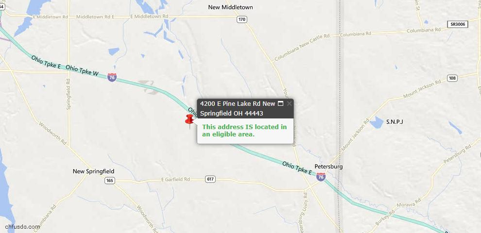 USDA Loan Eligiblity Map - 4200 E Pine Lake Rd, New Springfield, OH 44443