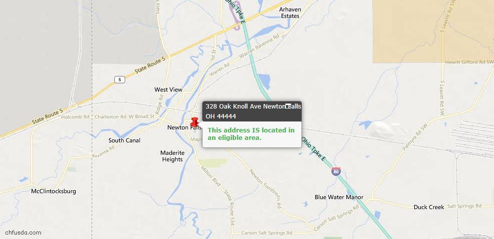 USDA Loan Eligiblity Maps From - Newton Falls, OH