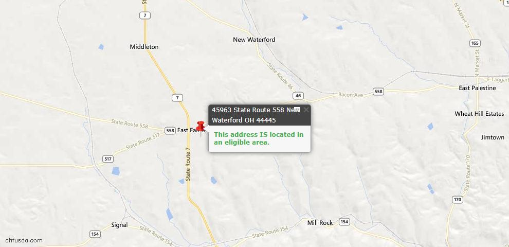 USDA Loan Eligiblity Maps From - New Waterford, OH