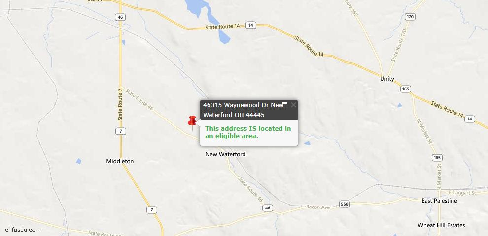 USDA Loan Eligiblity Maps From - Columbiana County, OH