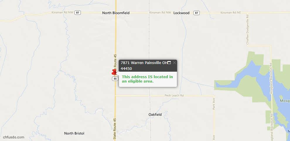 USDA Loan Eligiblity Maps From - North Bloomfield, OH