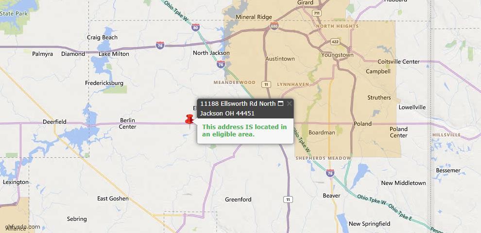 USDA Loan Eligiblity Map - 11188 Ellsworth Rd, North Jackson, OH 44451
