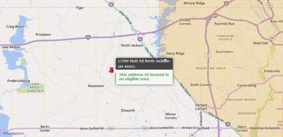 USDA Loan Eligiblity Map - 11589 Blott Rd, North Jackson, OH 44451