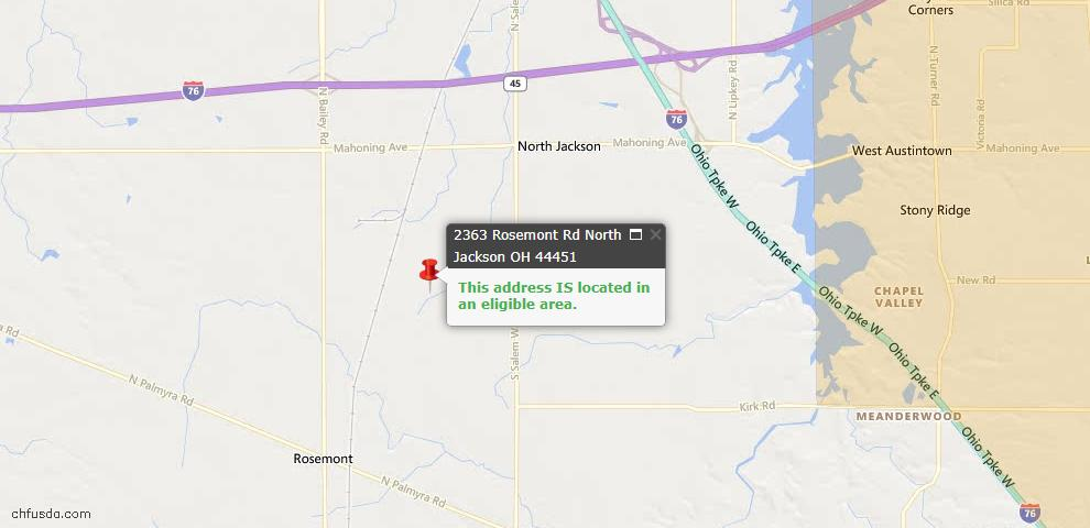 USDA Loan Eligiblity Maps From - North Jackson, OH