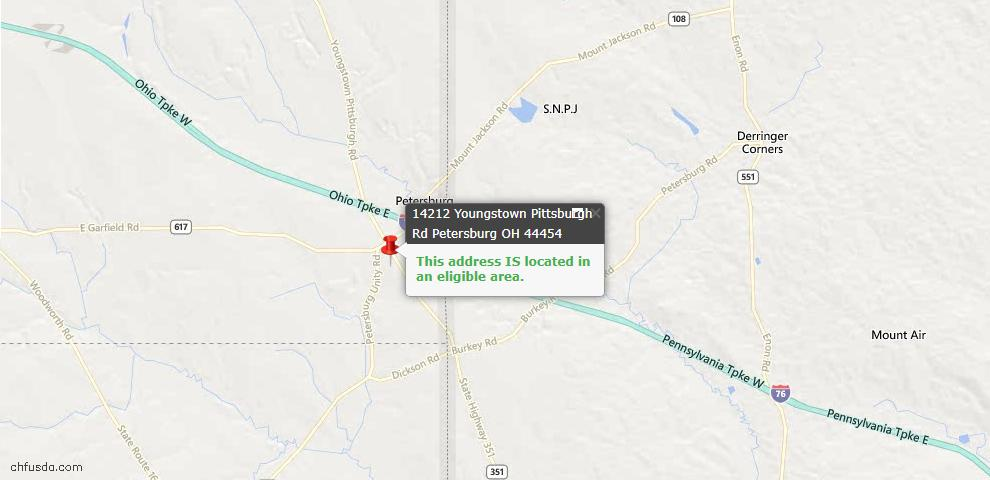 USDA Loan Eligiblity Maps From - Petersburg, OH