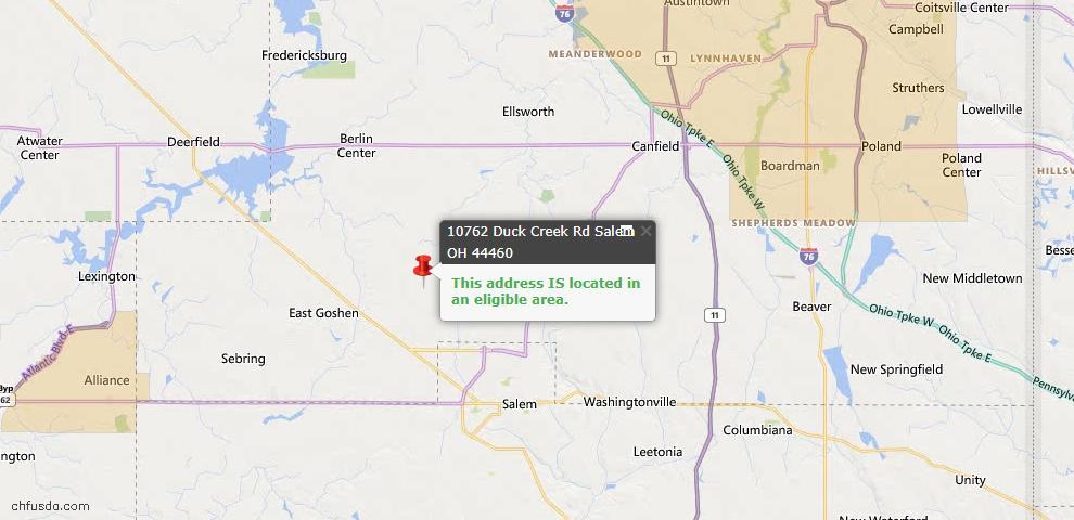 USDA Loan Eligiblity Map - 10762 Duck Creek Rd, Salem, OH 44460