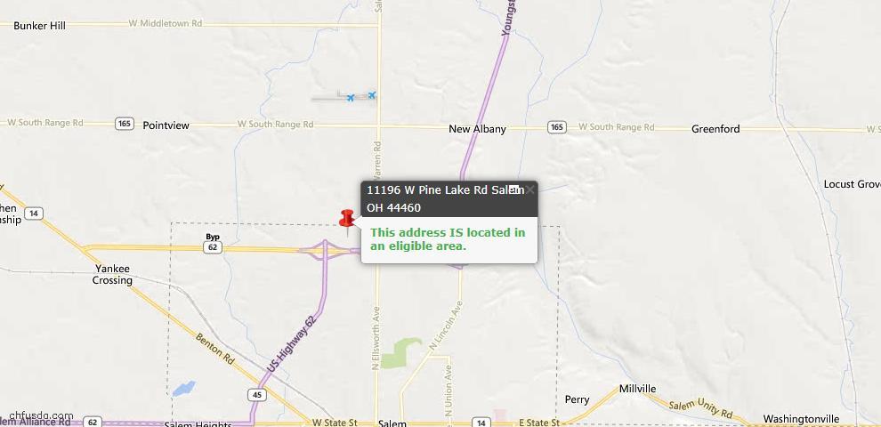 USDA Loan Eligiblity Map - 11196 W Pine Lake Rd, Salem, OH 44460