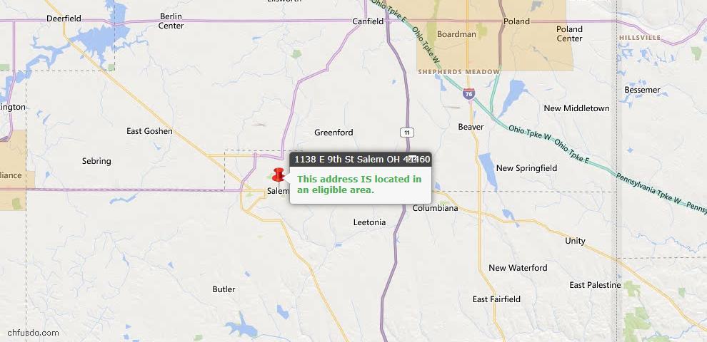 USDA Loan Eligiblity Map - 1138 E 9th St, Salem, OH 44460