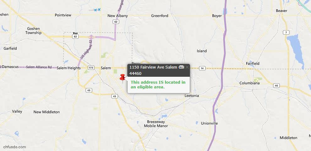 USDA Loan Eligiblity Map - 1150 Fairview Ave, Salem, OH 44460
