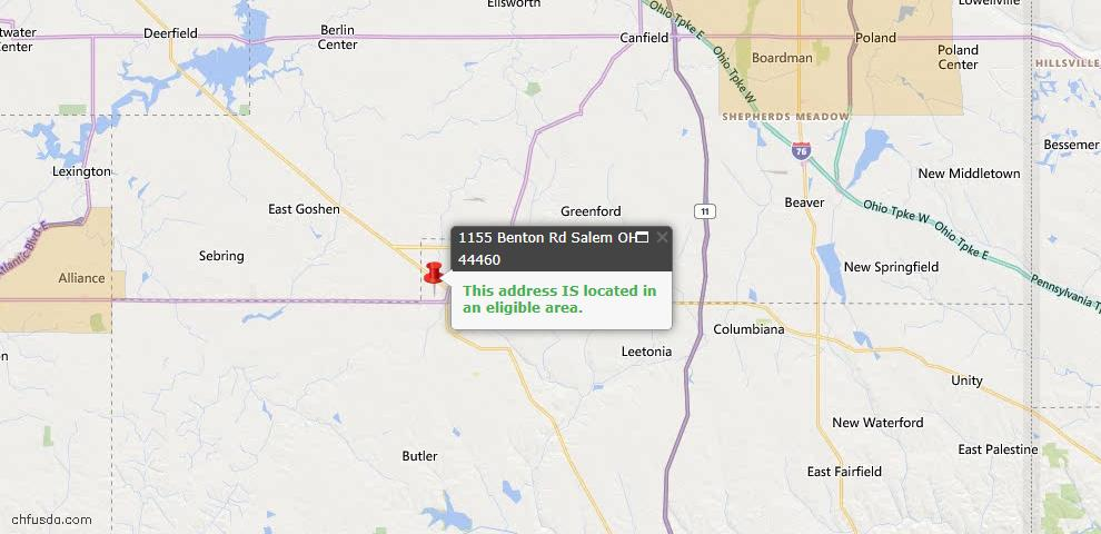 USDA Loan Eligiblity Map - 1155 Benton Rd, Salem, OH 44460