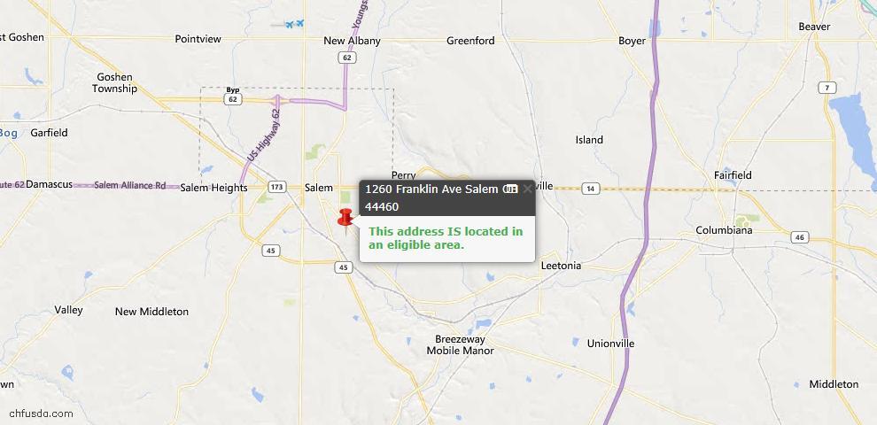 USDA Loan Eligiblity Map - 1260 Franklin Ave, Salem, OH 44460