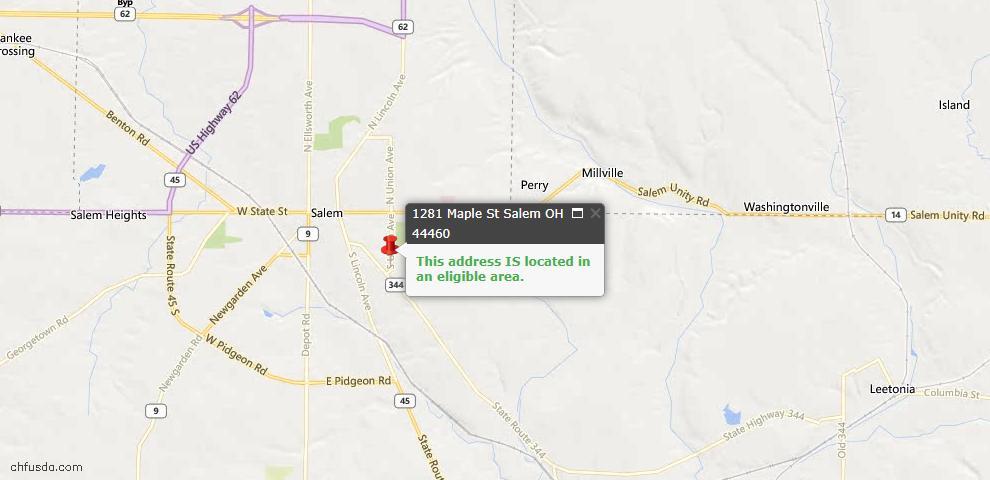 USDA Loan Eligiblity Map - 1281 Maple St, Salem, OH 44460