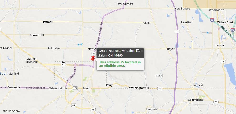 USDA Loan Eligiblity Map - 12812 Youngstown Salem Rd, Salem, OH 44460