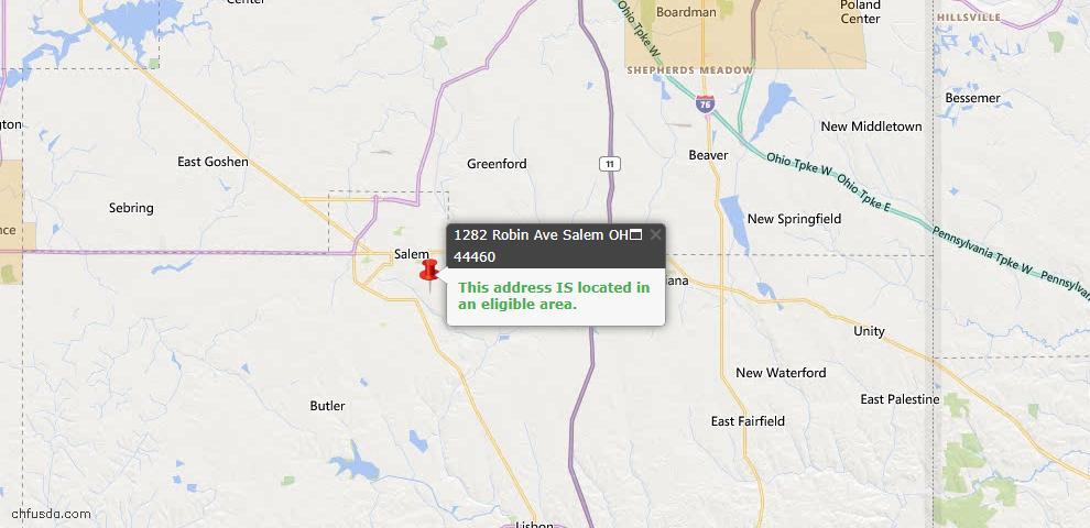 USDA Loan Eligiblity Map - 1282 Robin Ave, Salem, OH 44460