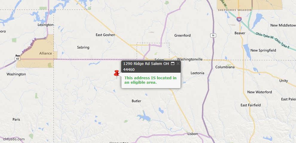 USDA Loan Eligiblity Map - 1290 Ridge Rd, Salem, OH 44460