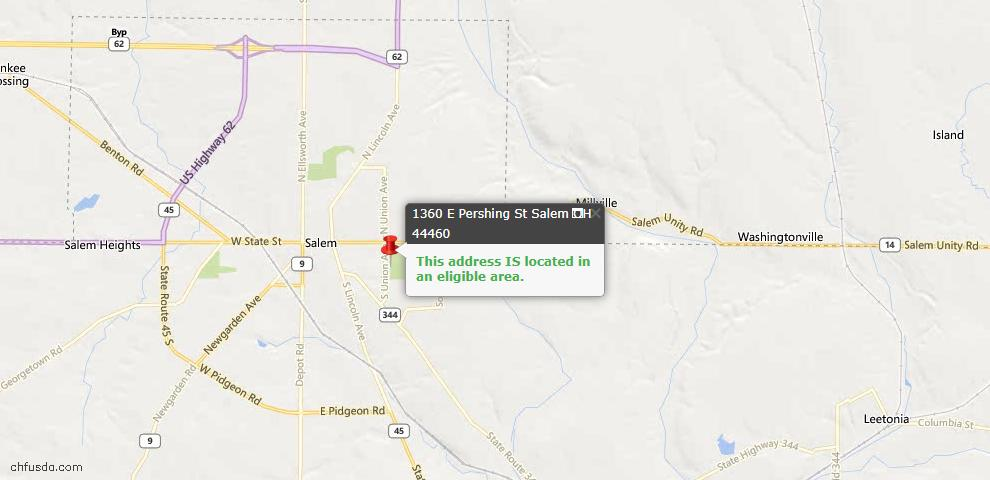 USDA Loan Eligiblity Map - 1360 E Pershing St, Salem, OH 44460
