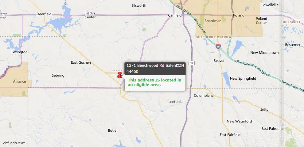 USDA Loan Eligiblity Map - 1371 Beechwood Rd, Salem, OH 44460