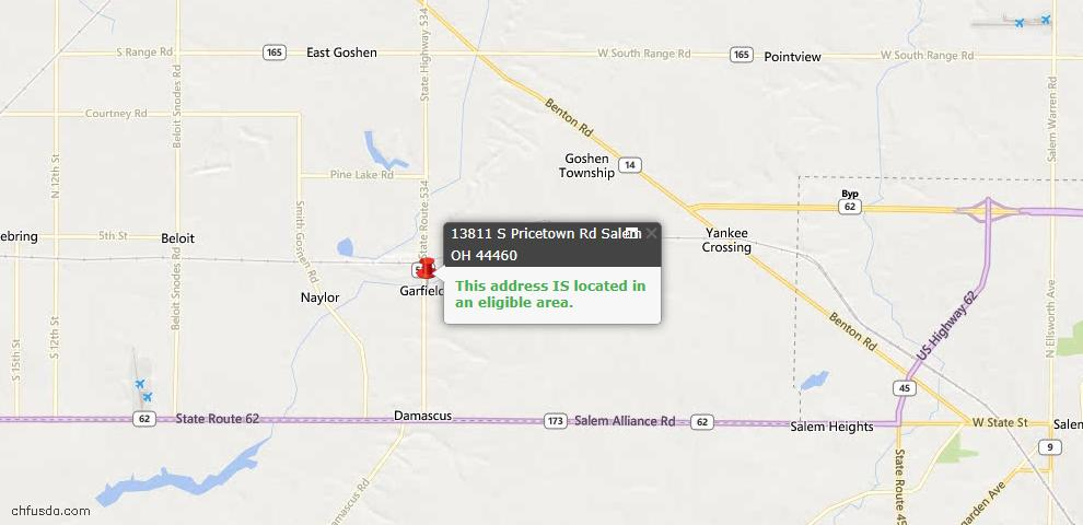 USDA Loan Eligiblity Map - 13811 S Pricetown Rd, Salem, OH 44460
