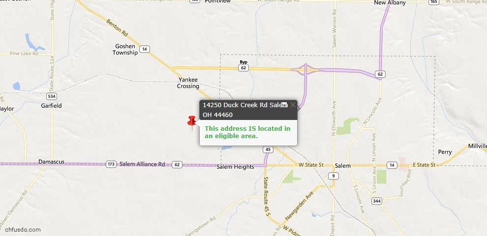USDA Loan Eligiblity Maps From - Salem, OH