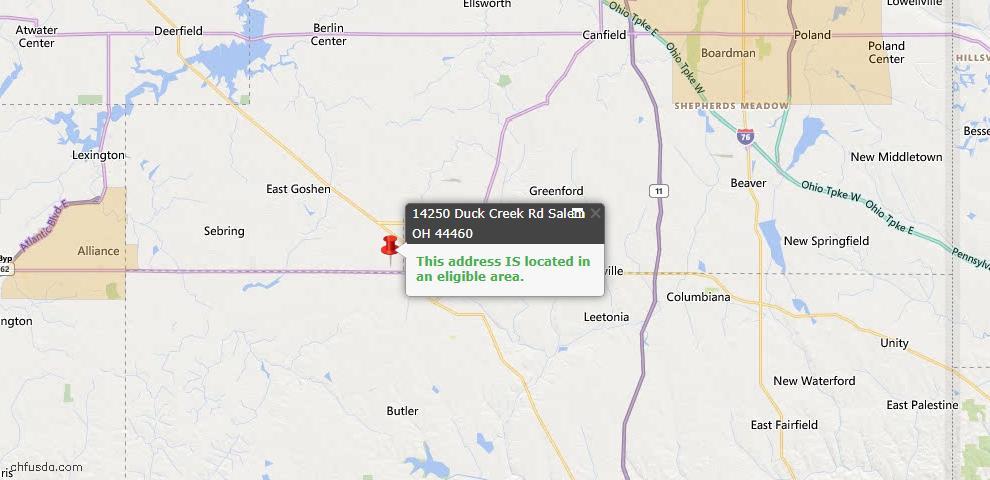 USDA Loan Eligiblity Map - 14250 Duck Creek Rd, Salem, OH 44460