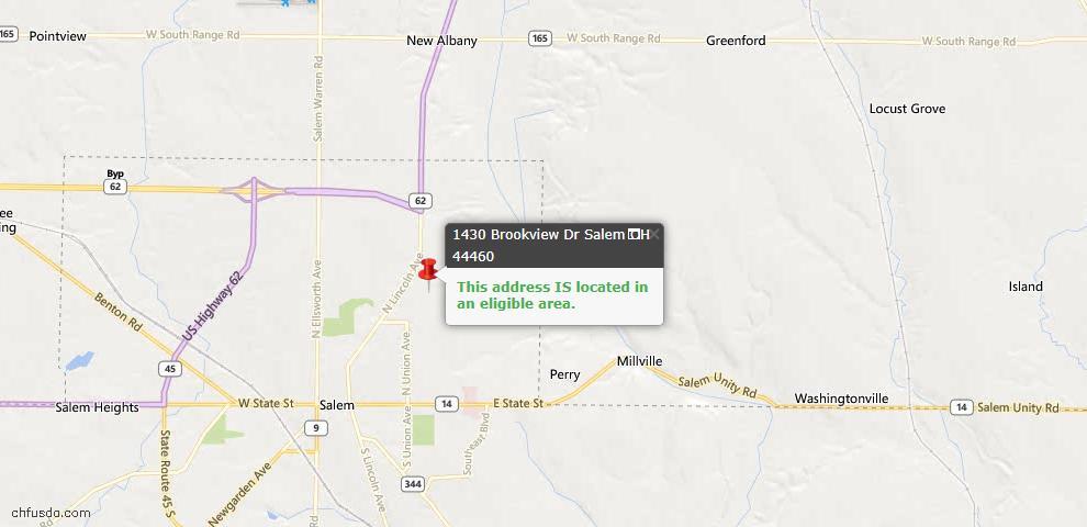 USDA Loan Eligiblity Map - 1430 Brookview Dr, Salem, OH 44460