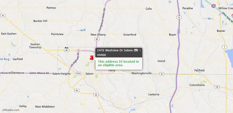 USDA Loan Eligiblity Map - 1476 Westview Dr, Salem, OH 44460