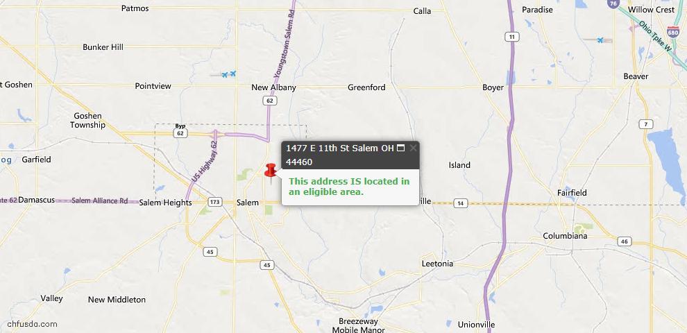 USDA Loan Eligiblity Map - 1477 E 11th St, Salem, OH 44460