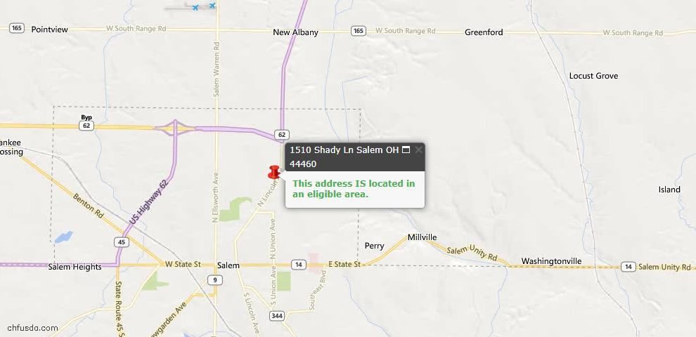 USDA Loan Eligiblity Map - 1510 Shady Ln, Salem, OH 44460